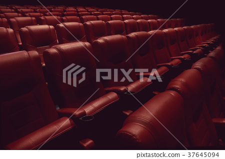 empty theater auditorium or cinema with red seats 37645094