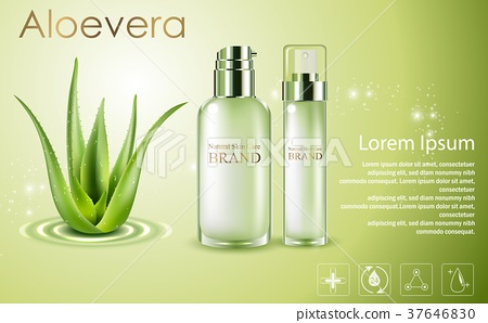 Aloe vera cosmetic ads, green spray bottles with a 37646830