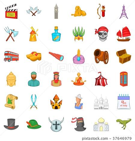 Sword icons set, cartoon style 37646979
