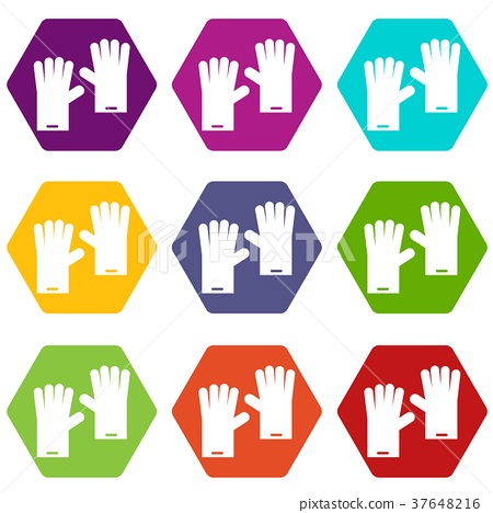 Rubber gloves icon set color hexahedron 37648216