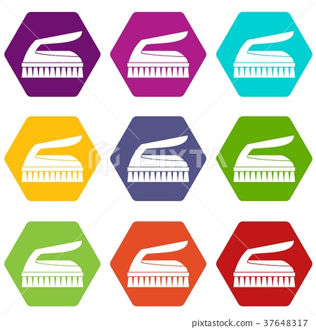 Brush for cleaning icon set color hexahedron 37648317