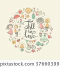 Cute fall in love illustration. Nice romantic 37660399