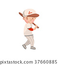 Little boy in white uniform playing baseball, kids 37660885