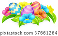 Cartoon Decorated Easter Eggs and Flowers 37661264
