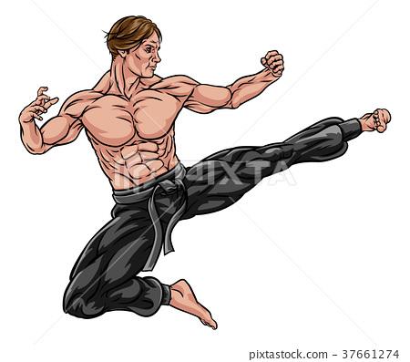 Karate Kung Fu Flying Kick Man Cartoon 37661274
