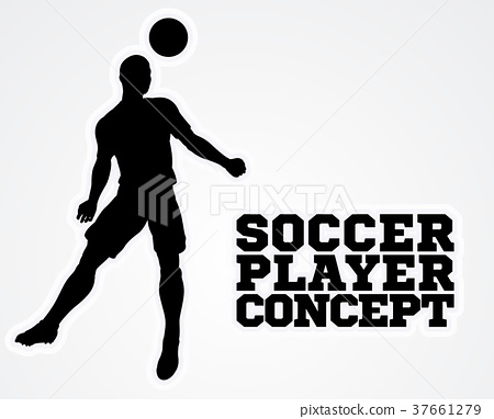 Header Soccer Football Player Silhouette 37661279