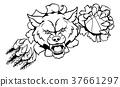 Wolf Basketball Mascot Breaking Background 37661297
