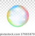 Rainbow soap bubble on a transparent background 37665879