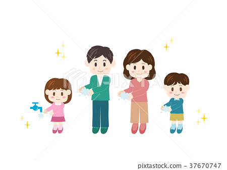 Family washing hands Cold prevention Flu measures illustrations 37670747