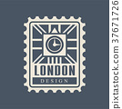 London city postal stamp with abstract Big Ben 37671726