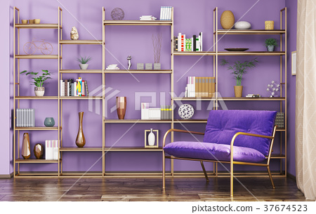 Interior of modern living room 3d rendering 37674523