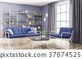 Interior of modern living room 3d rendering 37674525