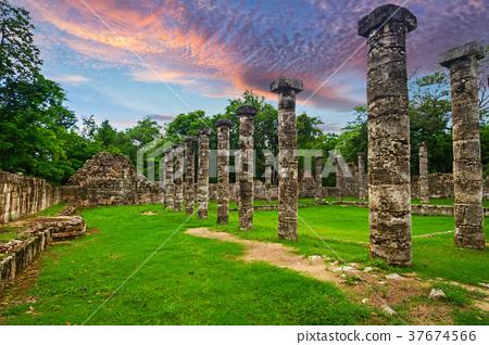 Columns of the Thousand Warriors in Chichen Itza 37674566