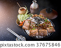 Grilled slice  set on rice bowl in Japan 37675846