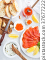 Delicious lunch with salted salmon, red caviar 37677222