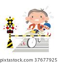 我不能打架。在平交道處,自行車的輪胎卡在軌道的凹槽中並下落。 37677925