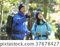 遠足 徒步旅行 夫婦 37678427