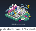 mobile navigation concept 3d isometric infographic 37679646