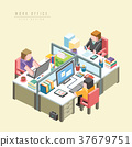 work office concept 3d isometric infographic 37679751