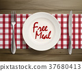 free meal written by ketchup on a plate 37680413