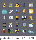 electricity related flat icons set 37683295