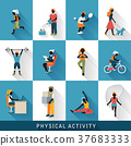 modern physical activity icons set 37683333