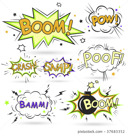 collection of multicolored comic sound effects 37683352