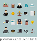 law and judgment concept flat icons set 37683418