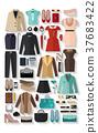 fashionable women clothes icons flat set 37683422