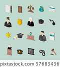 law and judgment isometric concept icons 37683436