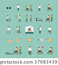 disabled people care help flat icons set 37683439