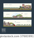 adorable town scenery banner template 37683991