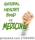 doctor writing natural healthy food is medicine words 37684895