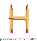 3d yellow pencil alphabet H 37685851