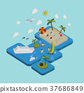 flat 3d isometric beach vacation illustration 37686849