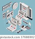 flat 3d isometric marketing research illustration 37686902