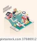 flat 3d isometric online shopping illustration 37686912