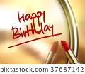 happy birthday words written by red lipstick 37687142