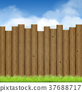 wooden fence with green grass and blue sky 37688717