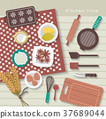 baking ingredients on kitchen table in flat design 37689044