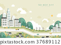 the best city scenery in flat design 37689112