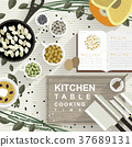 cooking materials on kitchen table in flat design 37689131