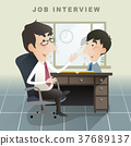 job interview scene in flat design 37689137