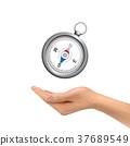 3d hand holding compass 37689549