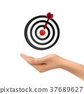 3d hand holding target button 37689627