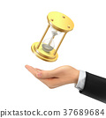 3d hand holding a hourglass 37689684