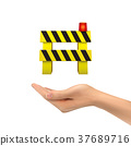 3d hand holding road barrier 37689716