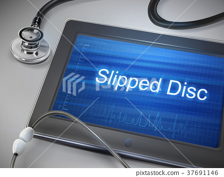 slipped disc words displayed on tablet 37691146