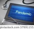 pandemic word displayed on tablet 37691155