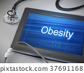 obesity word displayed on tablet 37691168
